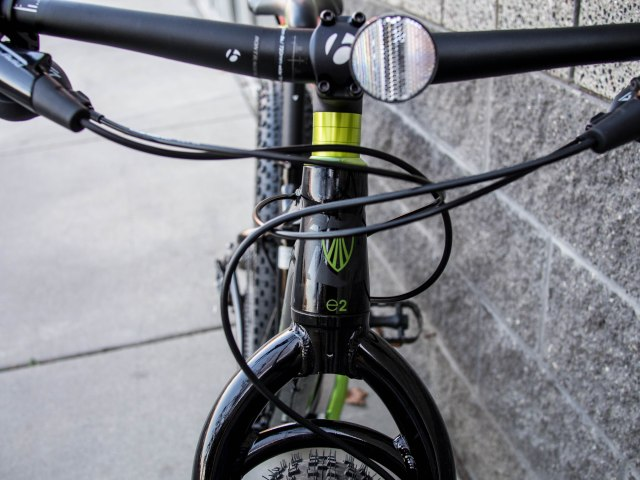 Oversized tapered headset.