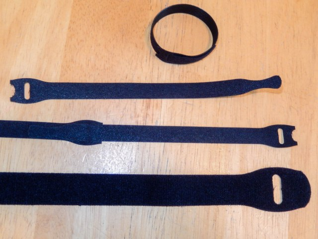 Hardware store velcro straps.