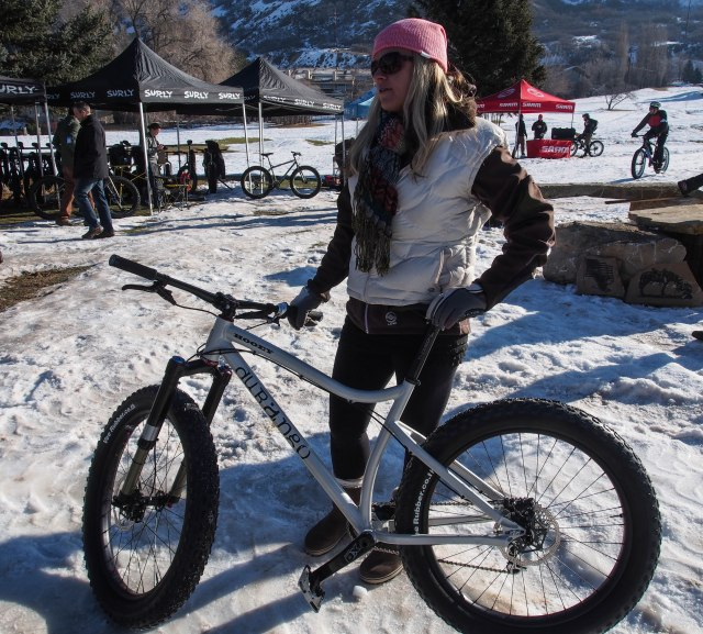 The Durango Hooey fat bike with the owner of the company (sorry, didn't get her name).