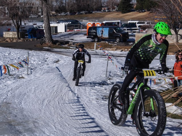 Just before the finish. James Stull (in green) of Anchorage wins with Jeffrey Montague of Provo, UT taking second place.