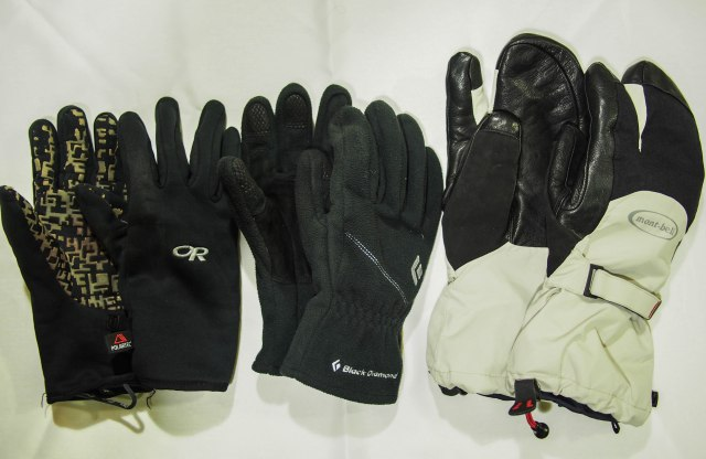 Three weights of gloves, light, medium, and heavy.