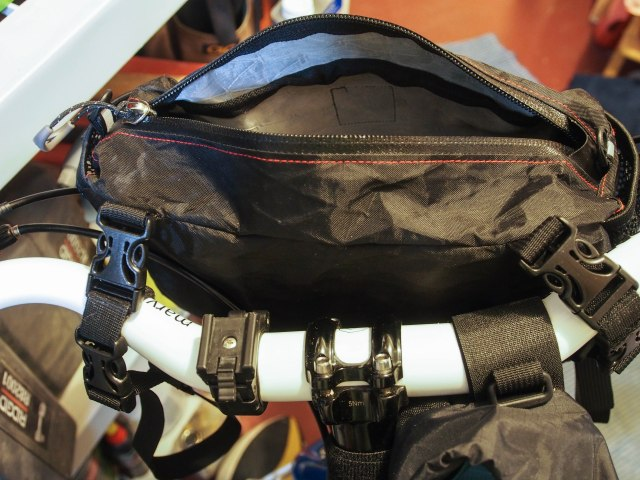 The RD pocket used alone as a handlebar bag.