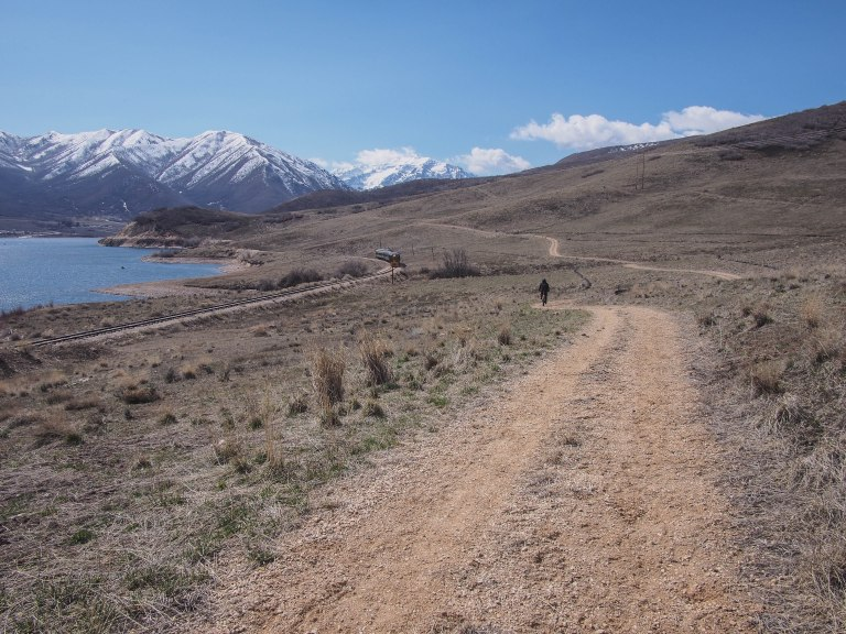Provo River trail along Deer Creek Reservoir.