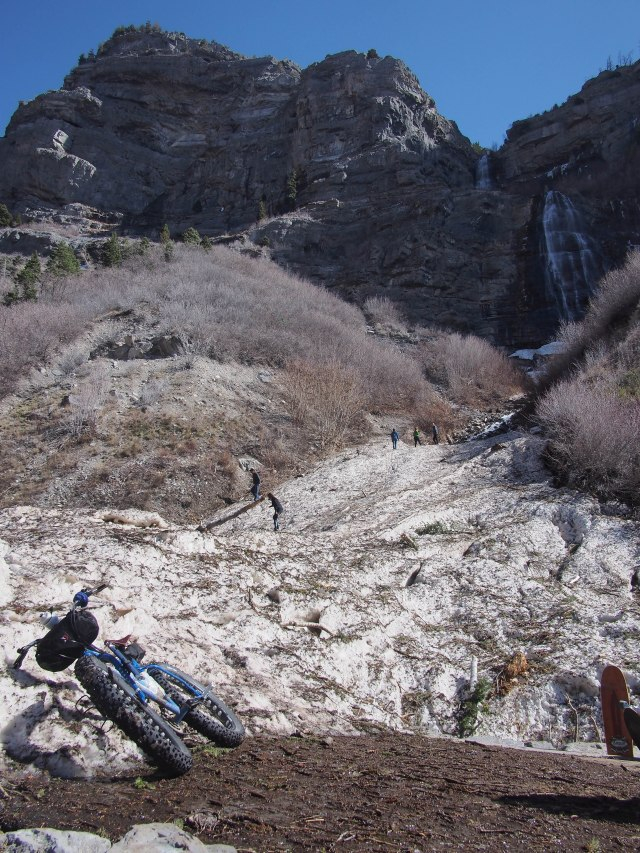 Avalanche debris at Bridalveil Falls.