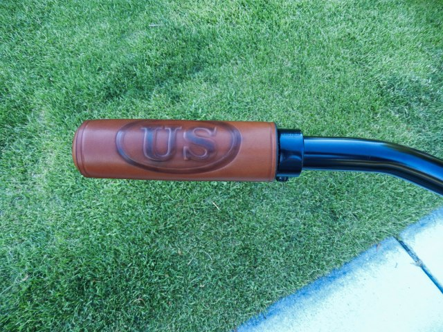 Custom made leather grips.
