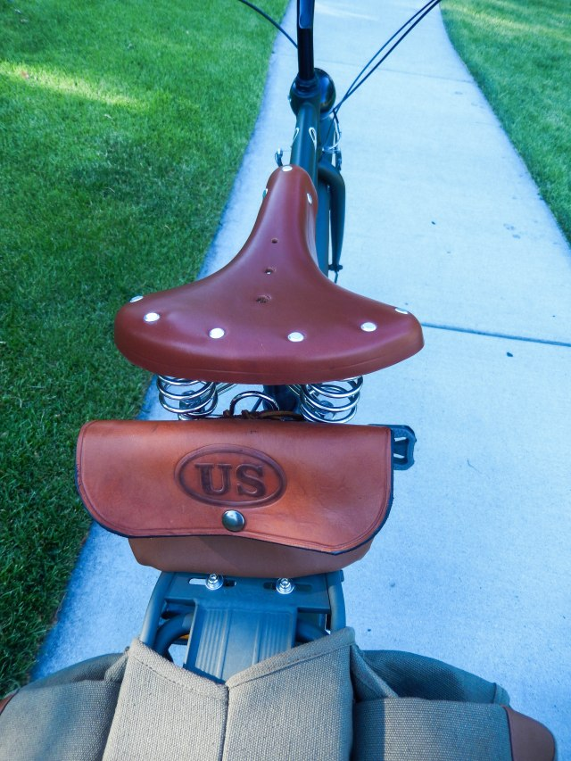 Custom seat bag and generic leather saddle.