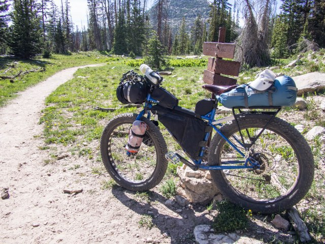Surly Pugsley with Revelate Designs frame pack, Gas Tank, Jerry Can, and front handlebar pocket.