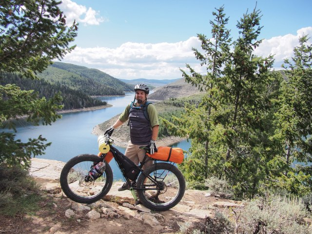 Bullet with his Trek Farley, outfitted with a Salsa rack and Revelate Designs frame bag.