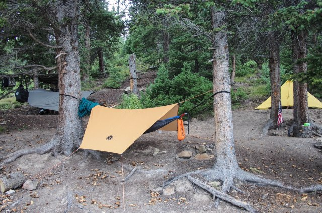 Our camp on the edge of the water.