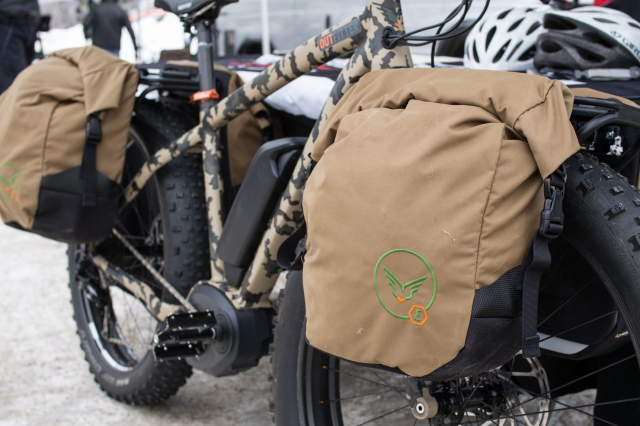 The Felt electric assist fatbike with Porcelain Rocket expedition panniers.