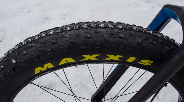 Maxxis fat tires—not very good in the snow.
