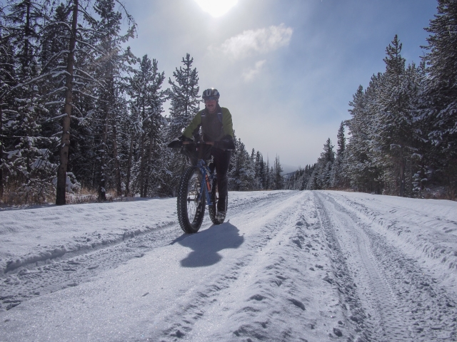 Riding the Mirror Lake Highway on fresh snow