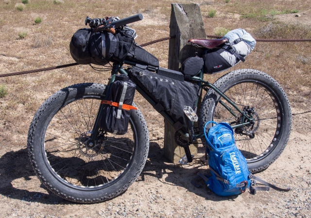 My Surly Pugsley, Wilbur, with mostly Revelate bags, and a Lone Peak seat pack.