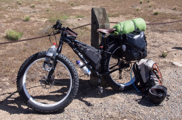 Doc's Salsa Mukluk with rear rack and Ortleib panniers