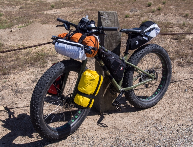 Bullet's Farley, with Revelate frame pack, and Barfly packs everywhere else